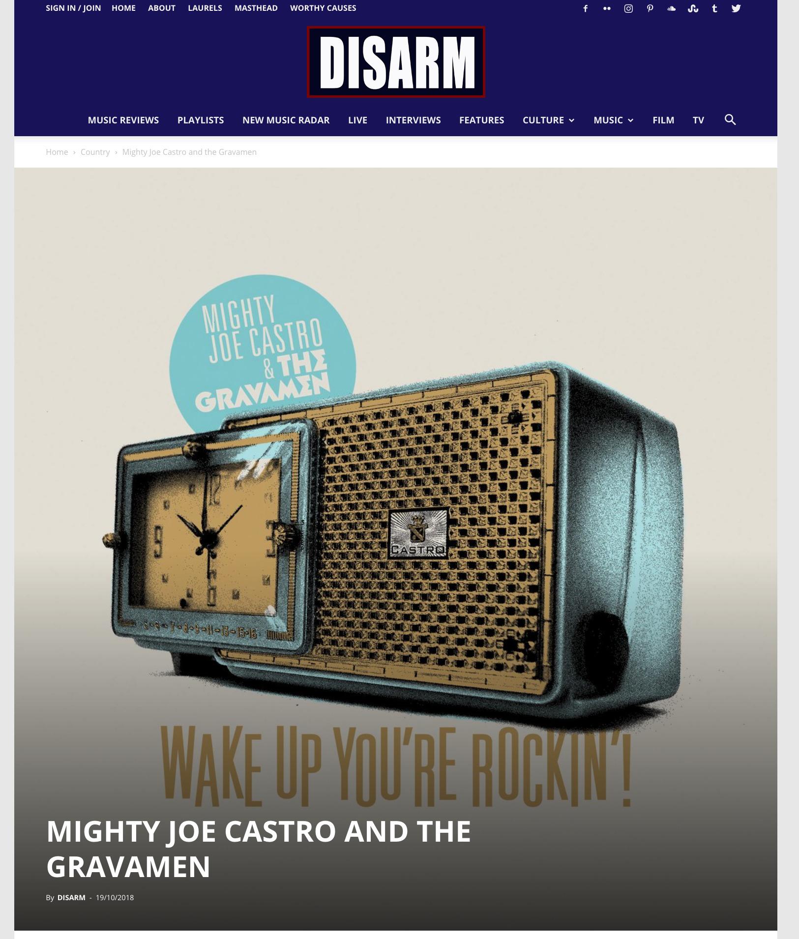 Mighty Joe Castro and the Gravamen rockabilly reviews Disarm Magazine