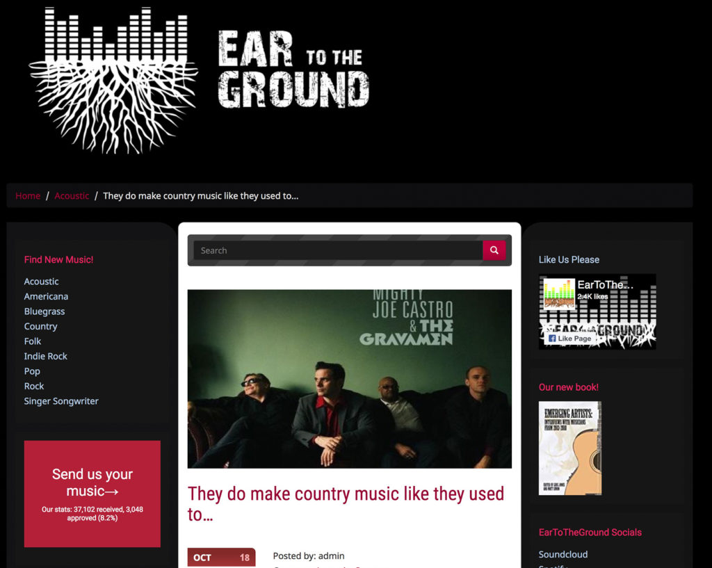 Ear to the Ground country music Mighty Joe Castro and the Gravamen review