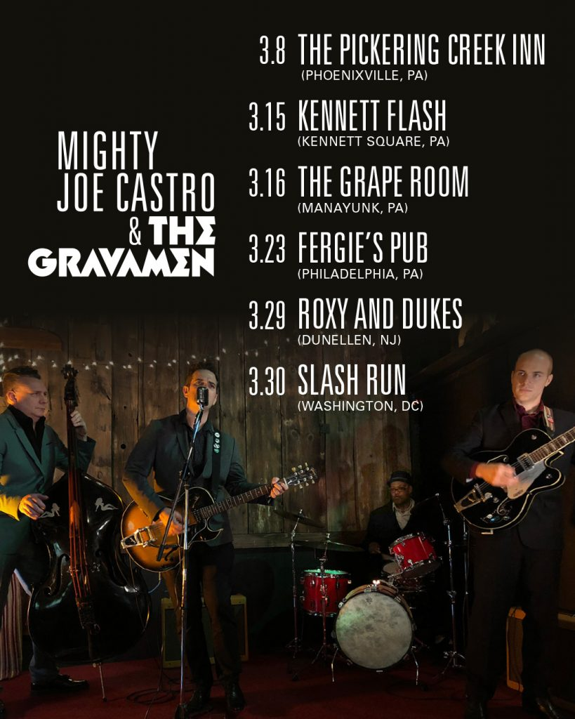 Mighty Joe Castro and the Gravamen gigs for March 2019