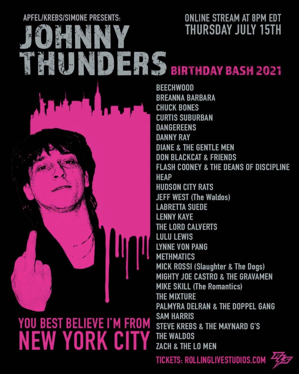 Johnny Thunders Birthday Bash 2021 live stream with Mighty Joe Castro and the Gravamen